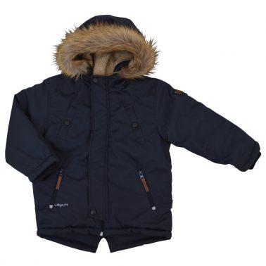 Зимно яке с топла качулка с пух в тъмно син цвят