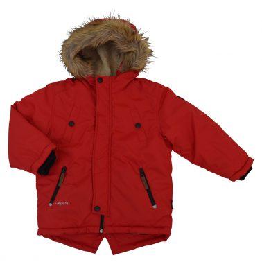 Зимно яке с топла качулка с пух в червен цвят