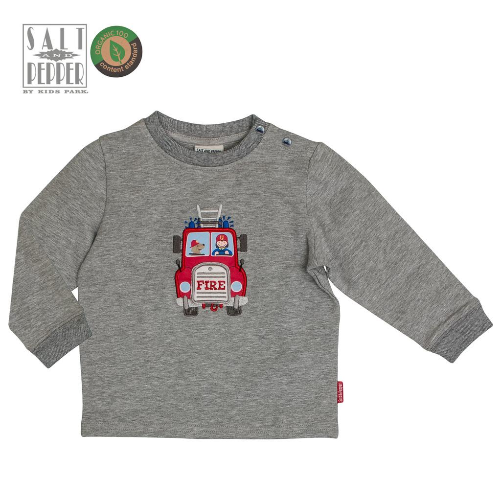 Ватирана блузка с пожарна кола в сив меланж от Salt & Pepper