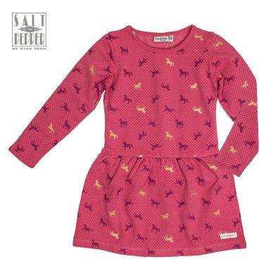 Ватирана рокля Salt & Pepper на кончета и точки в тъмно розово