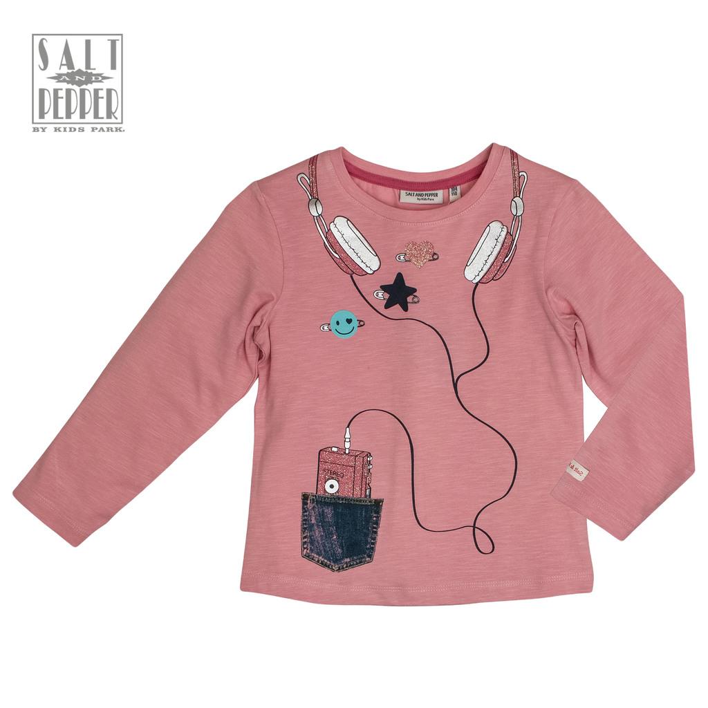 Блуза дълъг ръкав Salt&Pepper с щампа уокмен в розово