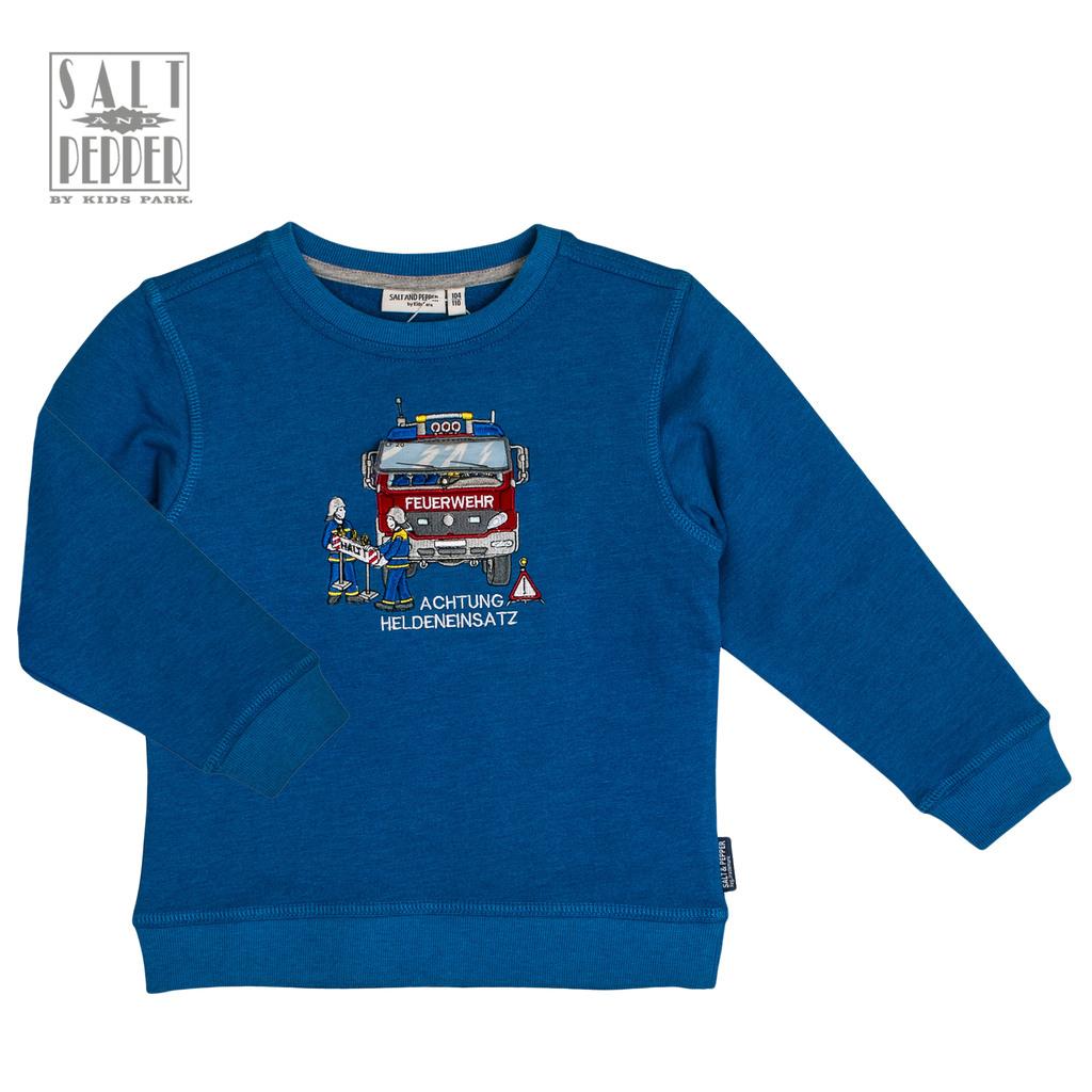 Ватирана блуза Salt & Pepper с бродирана пожарна кола синя