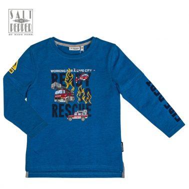 Блуза Salt & Pepper в синьо с двоен ръкав и пламъци
