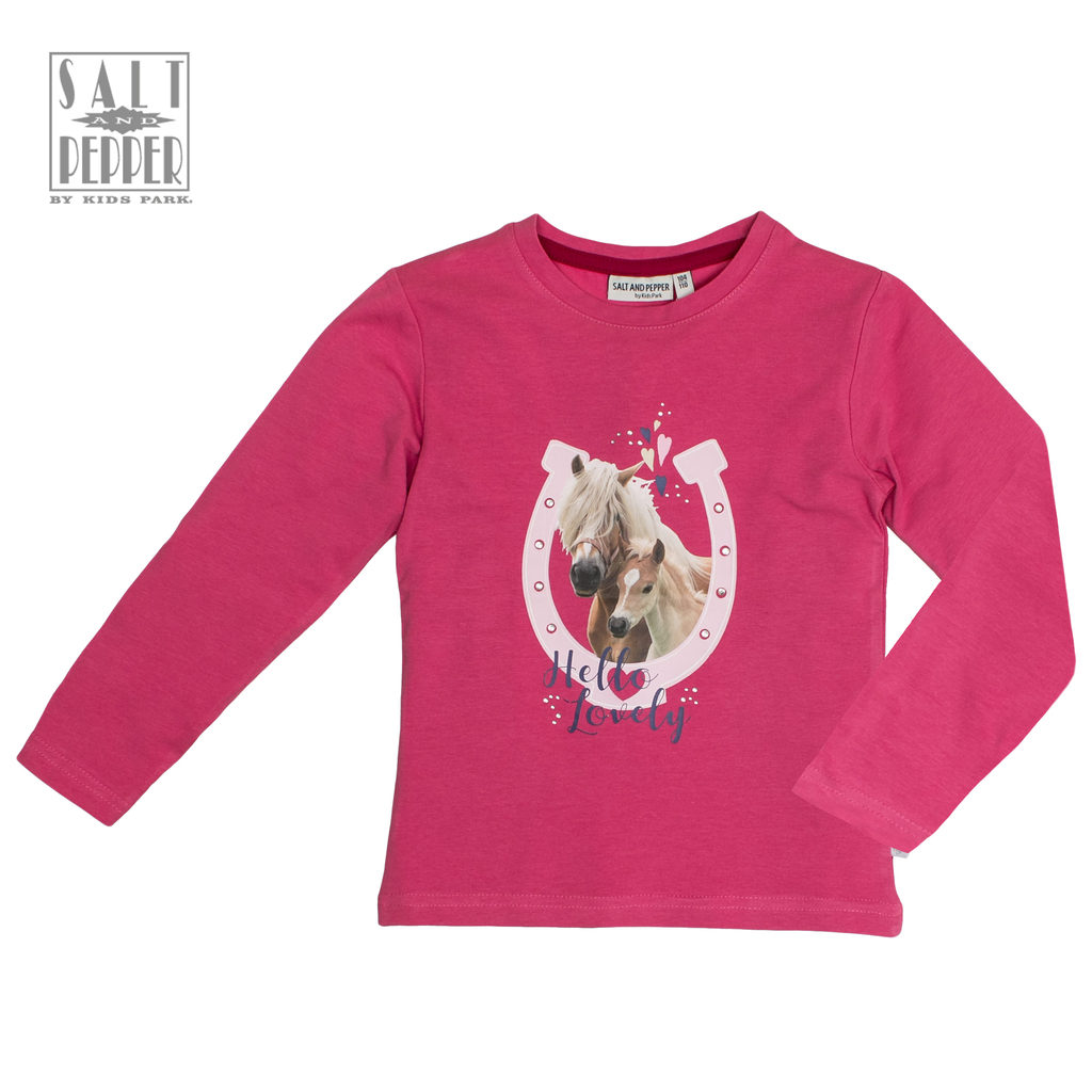 Блуза ''Salt & Pepper'' с коне и подкова в розов цвят