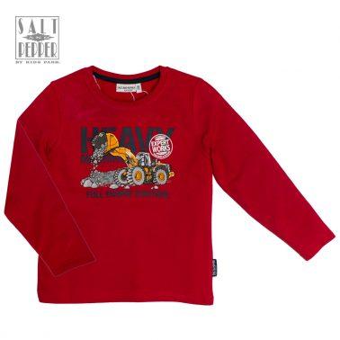 """Блуза в червено с уникален бродиран багер от """"Salt & Pepper"""""""