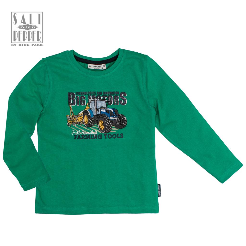 """Блуза в зелено със страхотен бродиран трактор от """"Salt & Pepper"""""""