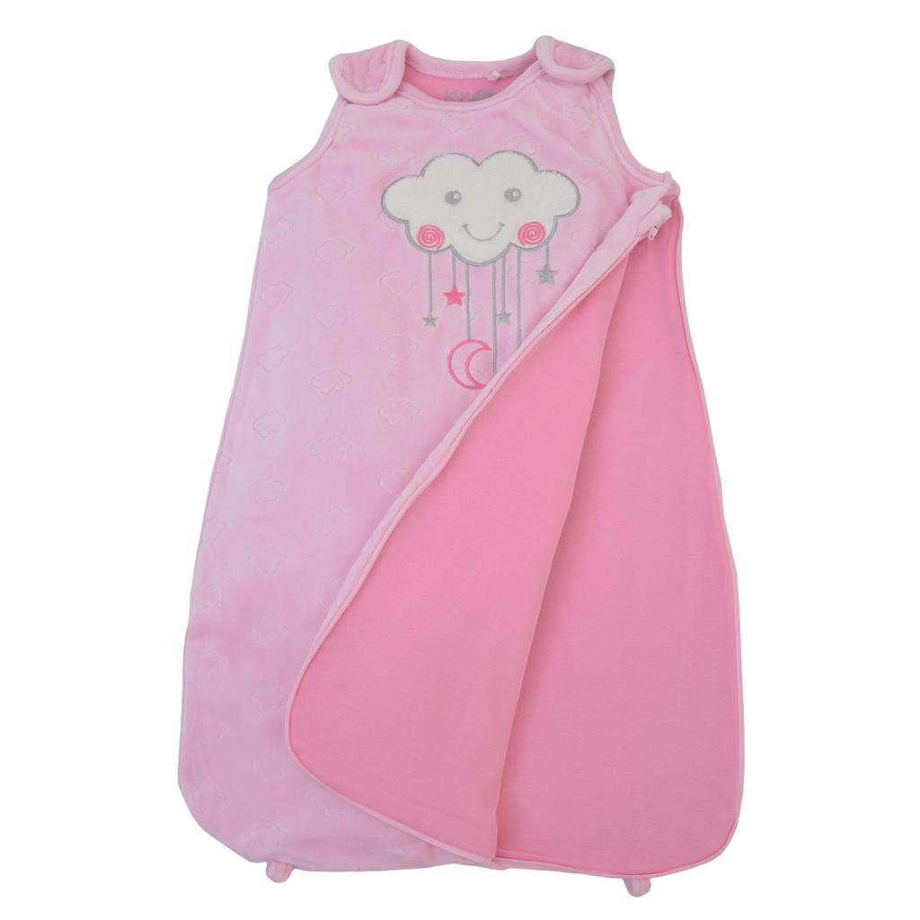 Плюшено чувалче за спане в розово с бродерия облаче
