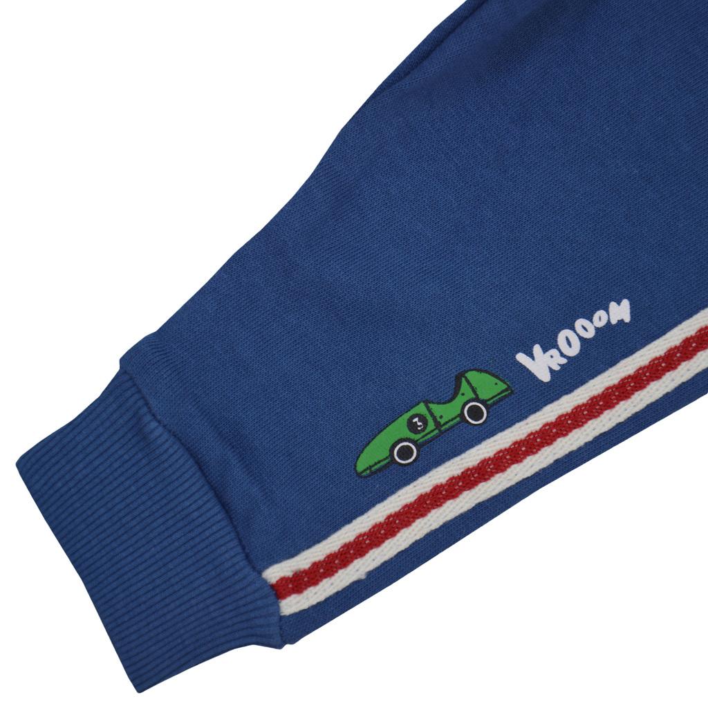 Ватирано долнище с цветни ленти и щампа кола в синьо