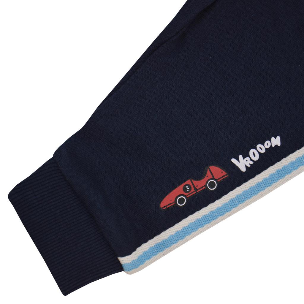 Ватирано долнище с цветни ленти и щампа кола в тъмно синьо