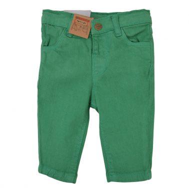 Цветни дънки в зелено с дълбока кройка