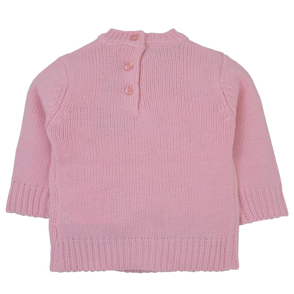 Мек акрилен пуловер в розово с лама