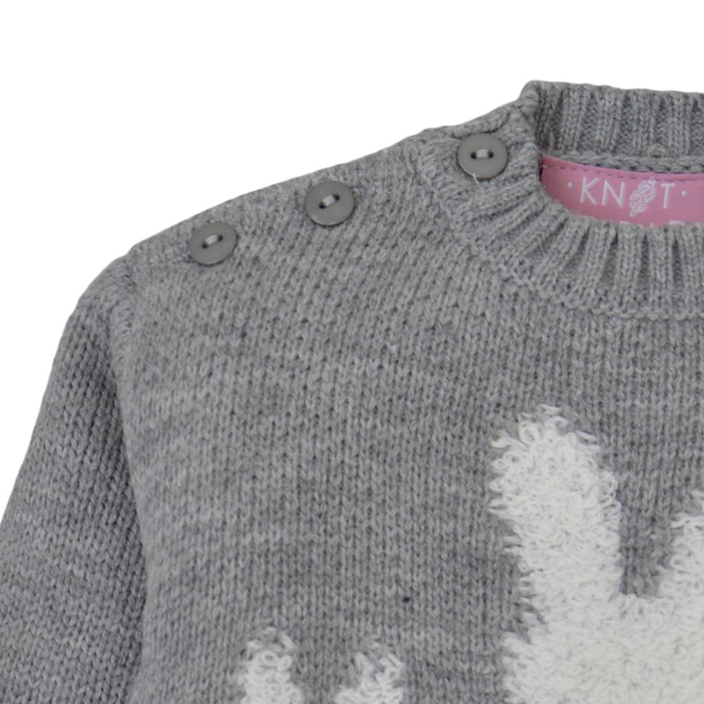 Модерен пуловер в сиво с копчета и зайчета