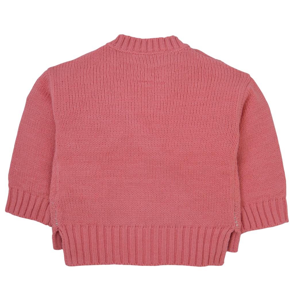 Модерен пуловер в розово с копчета и зайчета