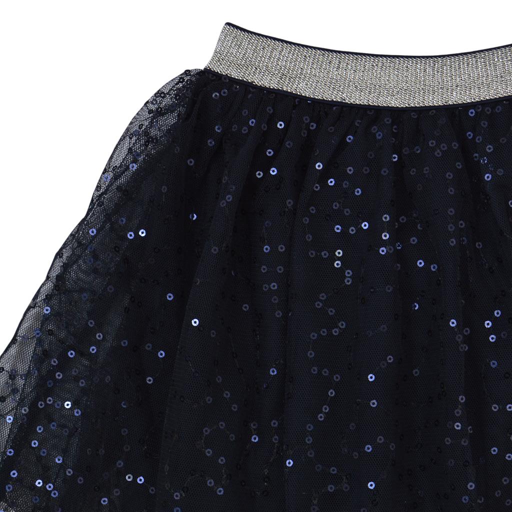 Ефектна пола от тюл с бляскави пайети в тъмно синьо