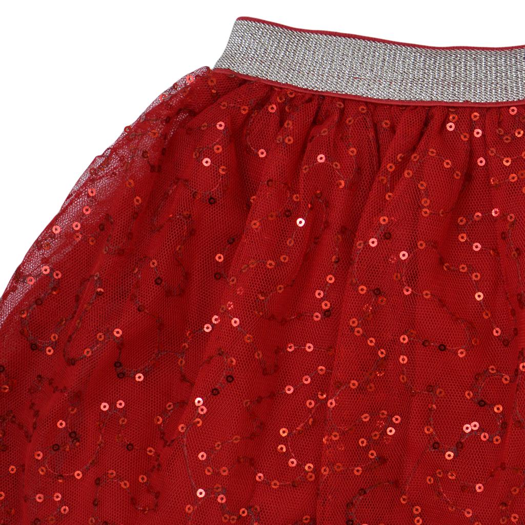 Ефектна пола от тюл с бляскави пайети в бордо