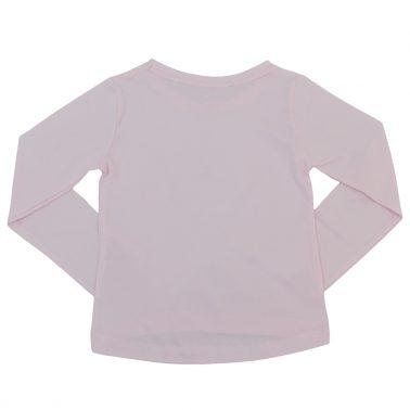 Блуза в розово с щампа момиче с панделка и пола от тюл