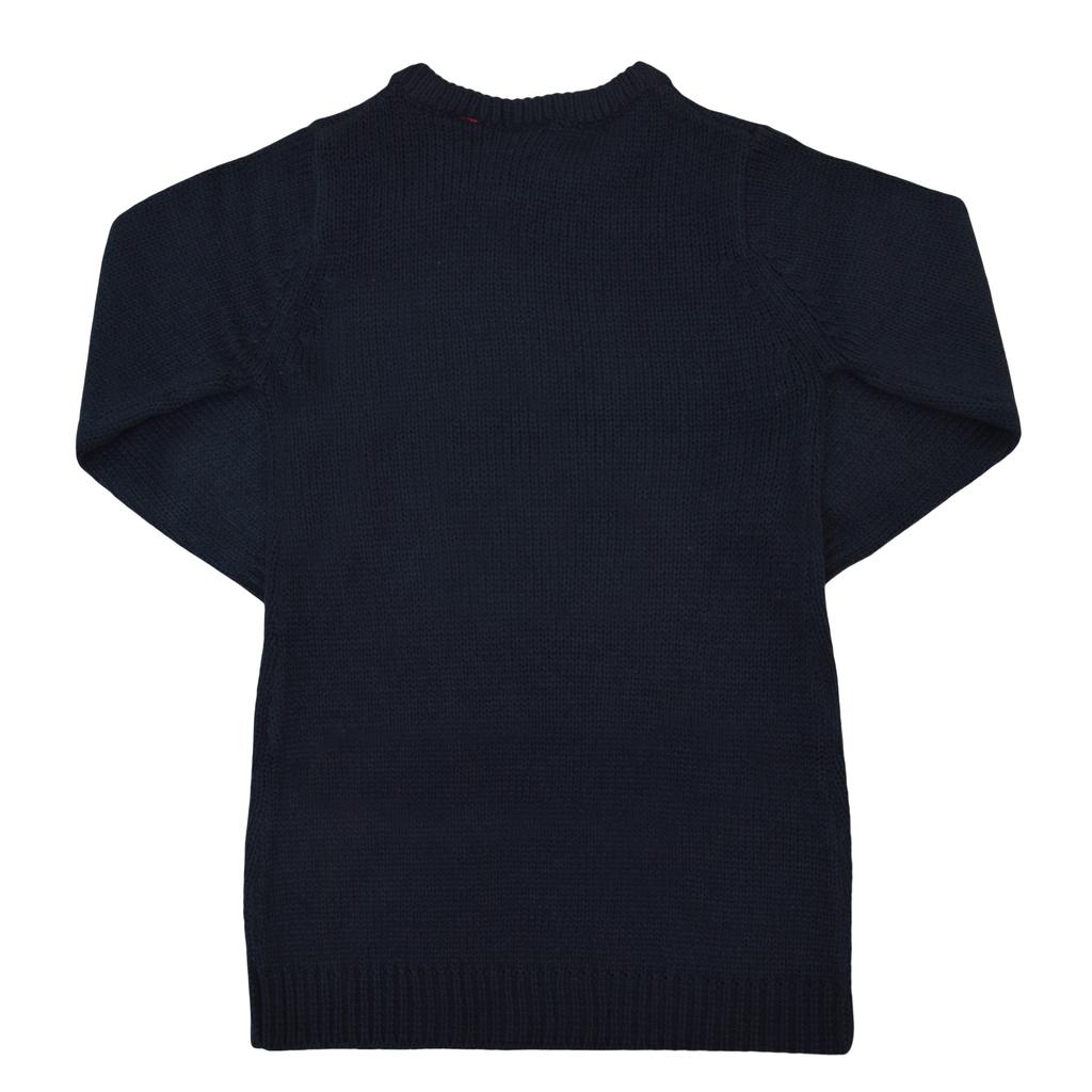 Туника от меко плетиво с надпис от двуцветни пайети в тъмно синьо