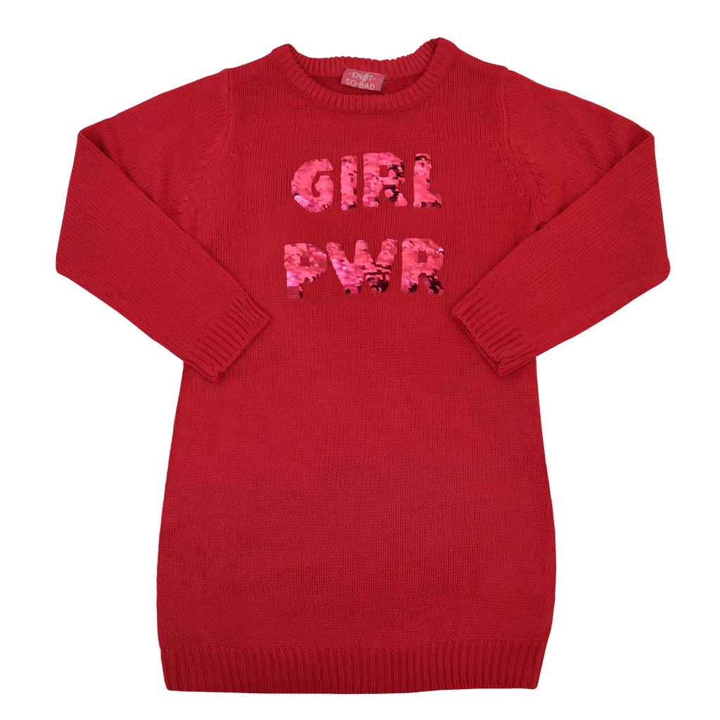 Туника от меко плетиво с надпис от двуцветни пайети в малинов цвят