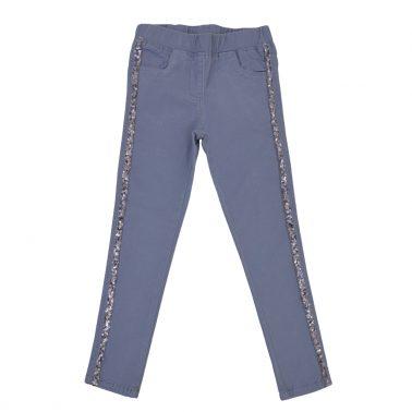 Панталон с ефектни ленти с пайети и джобчета в сиво-син цвят