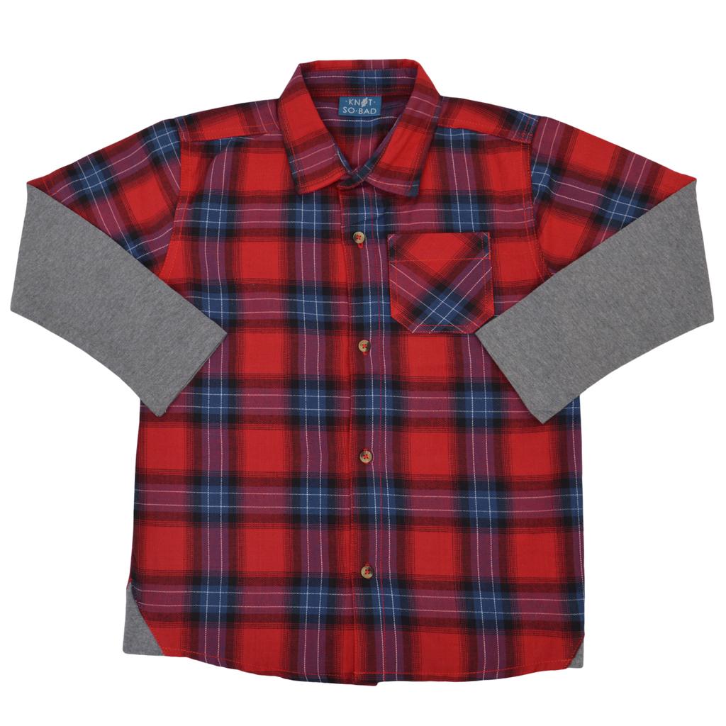 Спортна риза на червени карета с трикотажен ръкав