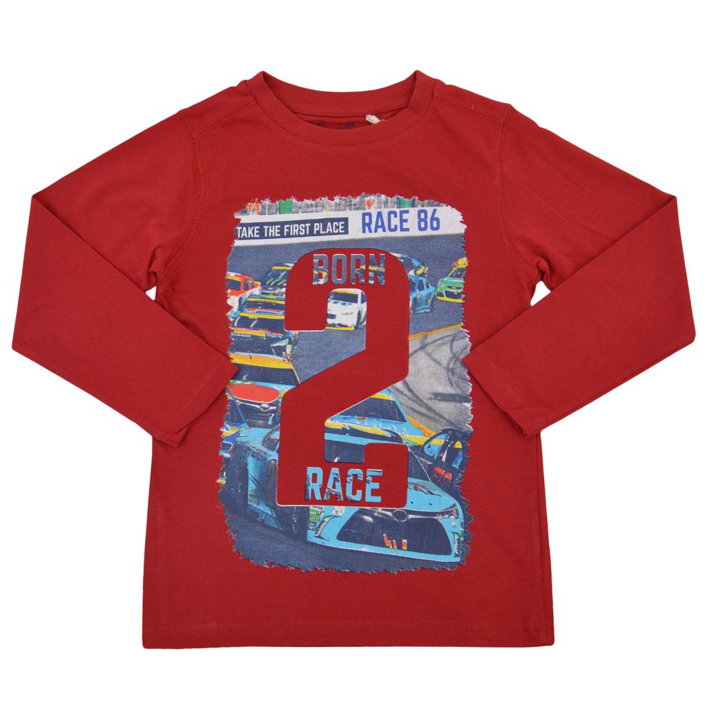 Блуза в червено с щампа състезателни автомобили