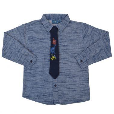 Елегантна риза с весела вратовръзка с чудовища в син цвят
