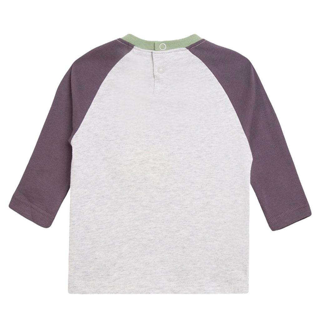 Блузка с щампа Дино и джобче в сиво от Newness