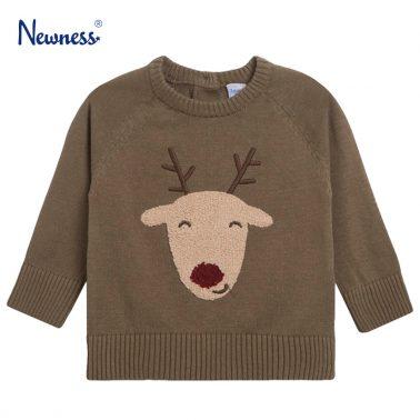 Пуловер Newness от фино плетиво в зелено с еленче
