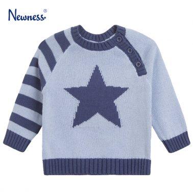 Мек памучен пуловер със звезда в синьо от Newness