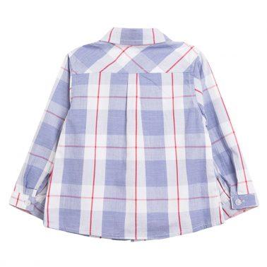 Риза Newness на едро светло синьо каре с кръпка