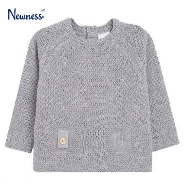 Мек пуловер с имитация на джобчета от Newness в сиво