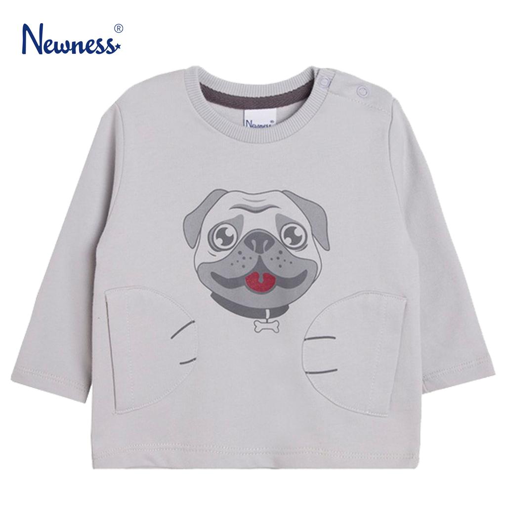 Блузка в сиво с кученце и джобчета от Newness