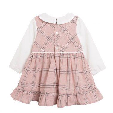 Рокля каре в розово с имитация на блуза от Newness