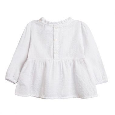 Блуза от опал с бродирани котета Newness в бяло
