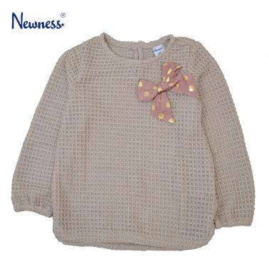 Модерна плетена блуза Newness с панделка на точки в бежово