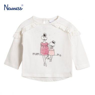 """Блузка Newness с щампа """"Mum & me""""  в бяло"""