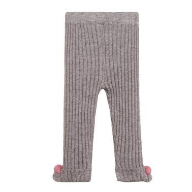 Клин Newness от рипсено плетиво в сиво с помпони