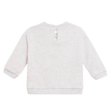 Топла блузка с помпони и щампа парфюми от Newness в сиво