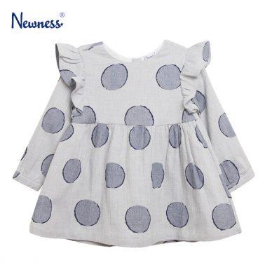 Стилна рокля на едри точки от Newness в синьо