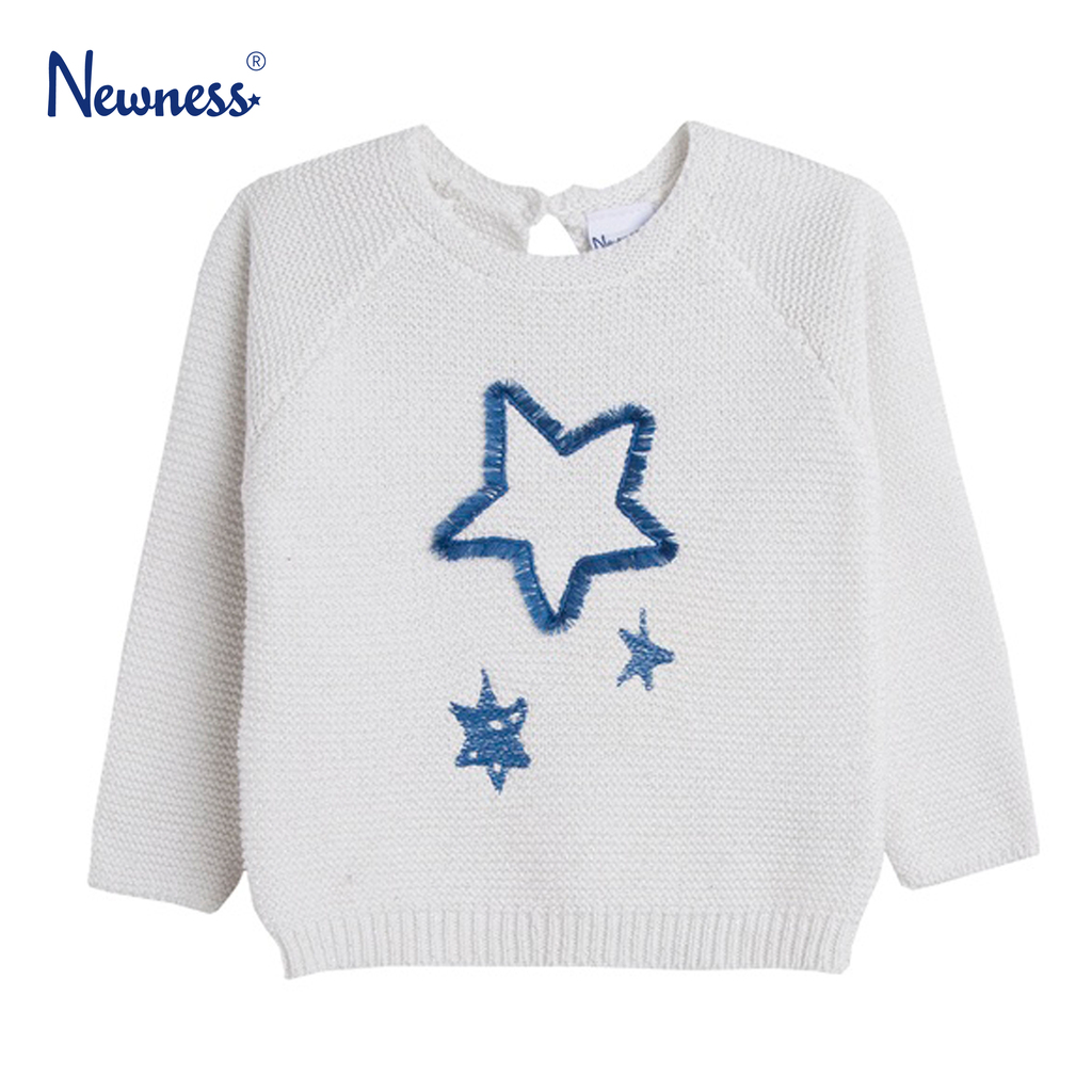 Памучен пуловер Newness с ламе и звездички в екрю