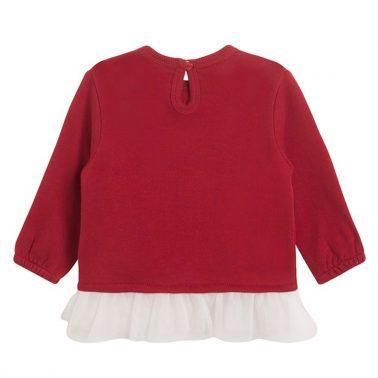 """Топла блуза Newness с тюл и щампа """"Fun"""" в червено"""