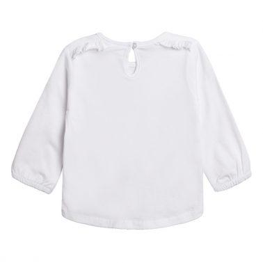 Блузка Newness с щампа котарак и къдрички бяла