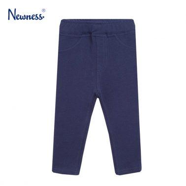Трикотажен панталон Newness с имитация на закопчаване тъмно син