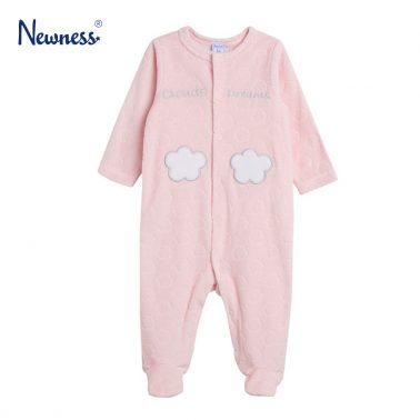 Плюшен гащеризон с облачета в розово от Newness