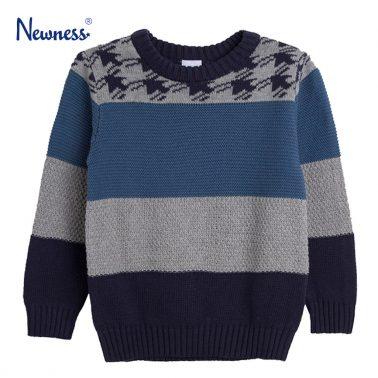 Пуловер в различно цветно плетиво от Newness син