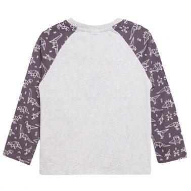 """Блуза с реглан ръкав на щампи и надпис """"Roar"""" от Newness сива"""