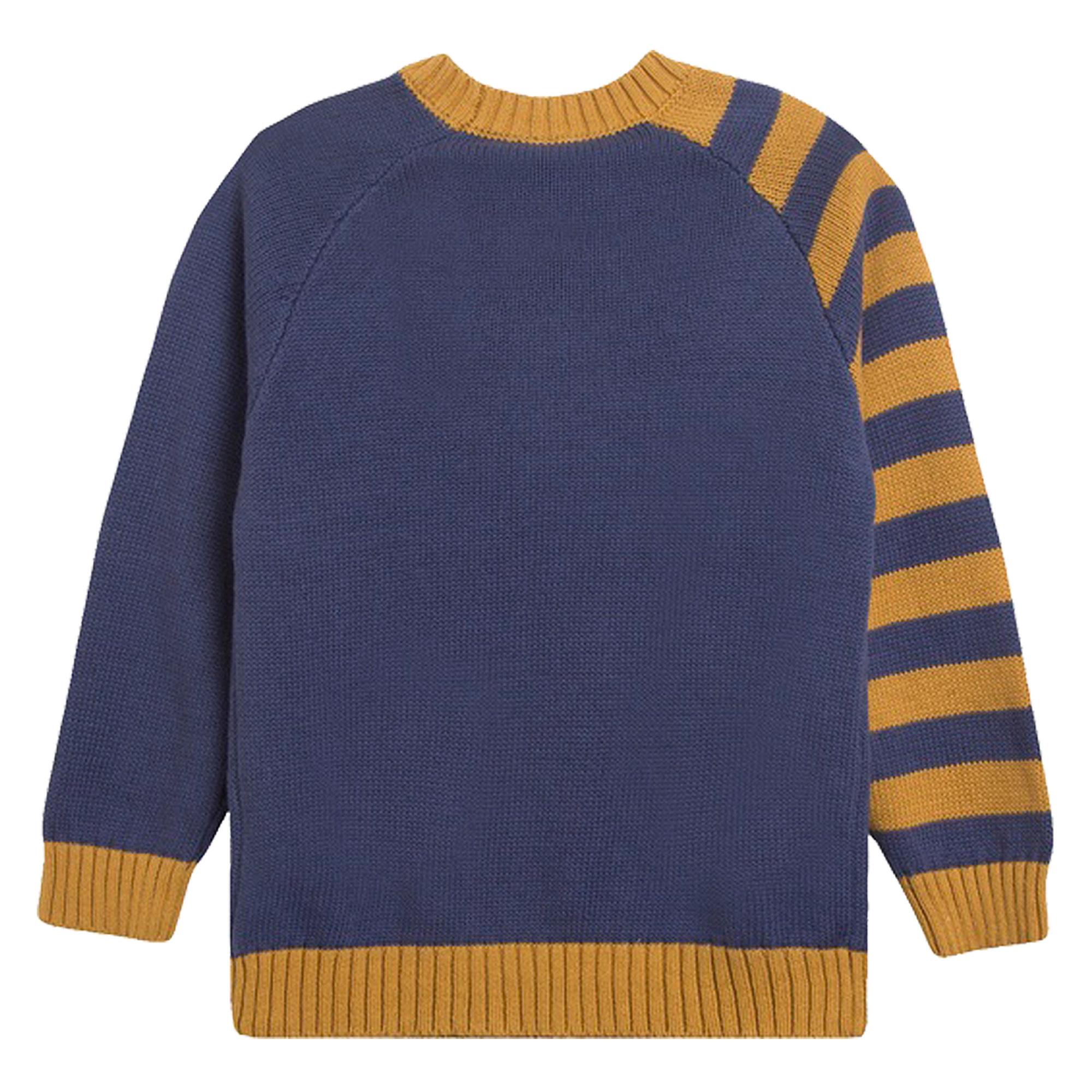 Памучен пуловер с райета и звезда от Newness в тъмно синьо
