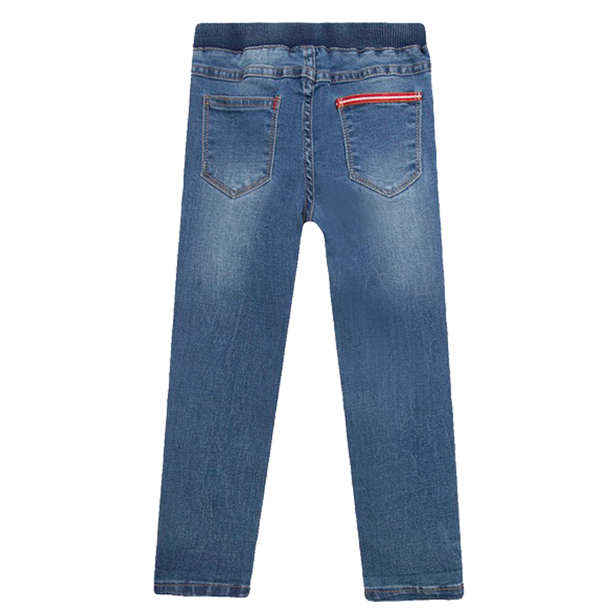 Модерни избелени дънки с ластик и копче от Newness в синьо