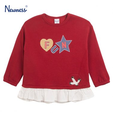 """Модерна ватирана блуза с волан """"Fun""""' в червено от Newness"""