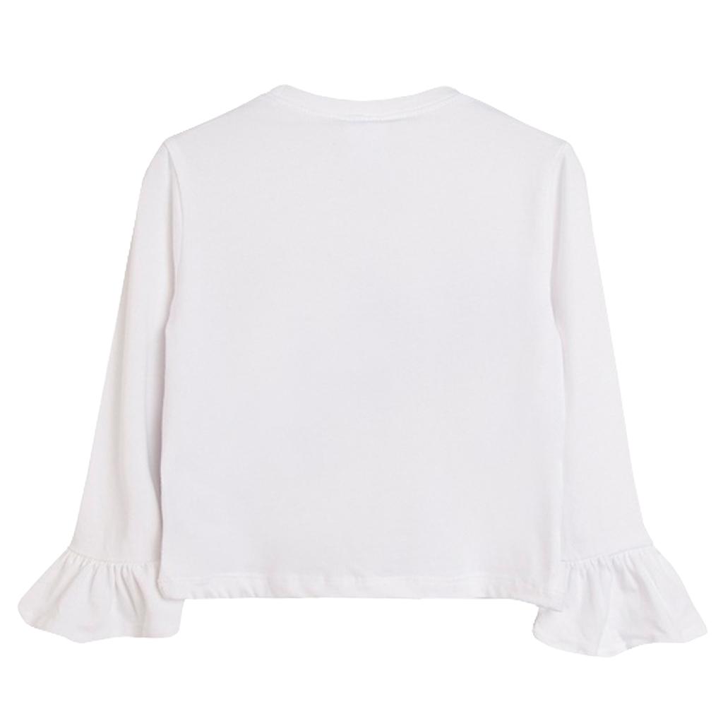 Блуза с градска щампа и широк маншет от Newness в бяло